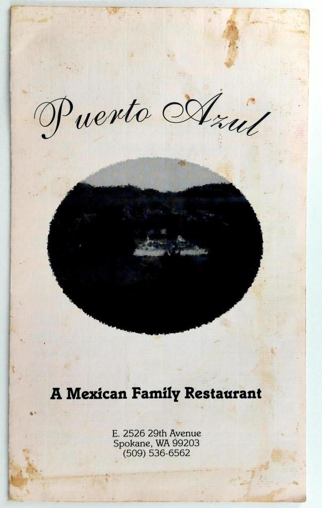 1980 S Puerto Azul Original Vintage Mexican Restaurant Menu Spokane Washington In 2020 Vintage Menu Menu Restaurant Vintage Restaurant