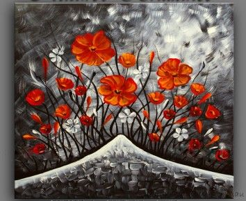Ultra Artistic Floral Oil Painting on Canvas (Stretched) ready to hang by Designer Paintings