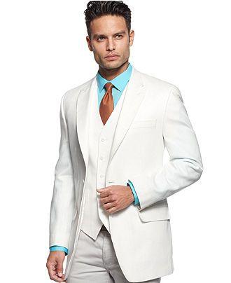Sean John Jacket and Vest, White Linen - Suits & Suit Separates - Men - Macy's