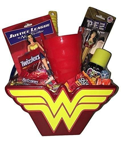 Wonder Woman Superhero Easter Basket Gift Bundle Pack in keepsake basket action figures candy pez cup bubble wand FAST SHIPPING USA SELLER
