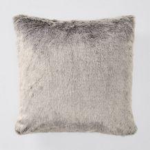 Grey Faux Fur Cushion - 45cm