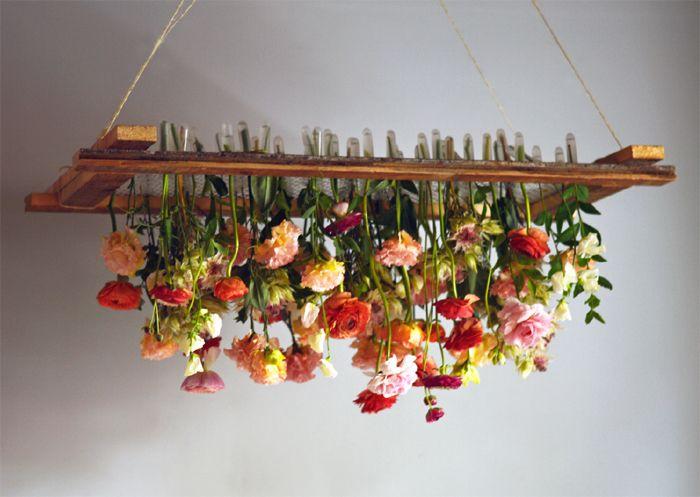DIY hanging floral chandelier- looks easy!  Via Tin Can Studios BK.com