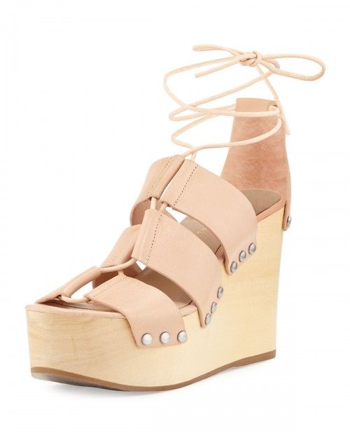 Loeffler+Randall+Ines+Leather+Lace+Up+Wedge+Sandals+Nude+Women's+41+0b+11+0b+|+Shoes+and+Footwear