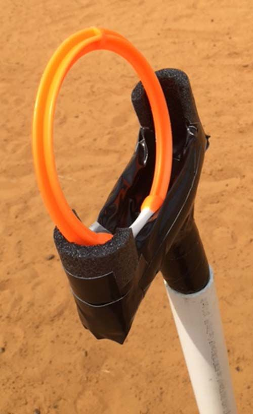 Ring Obstacle Top Side View. This is a great way to practice catching the ring with the garrocha for bull obstacle.