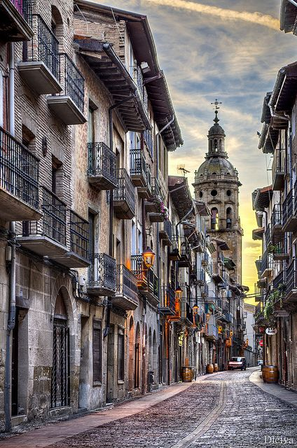 St. James' Way. Street of Puente La Reina, Navarra, Spain