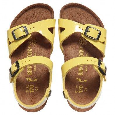 Birkenstock Girls Yellow Patent Sandals Rio At