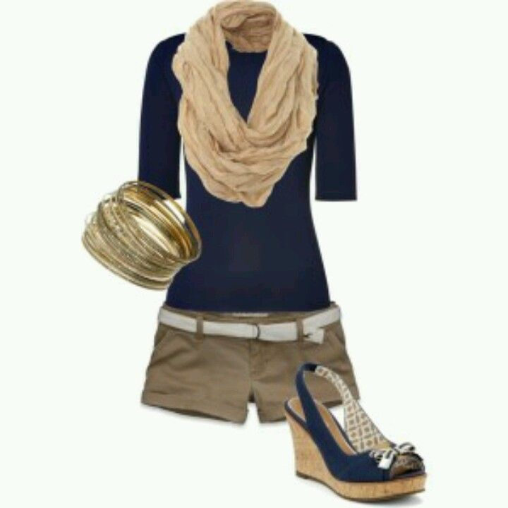 Kaki shorts with dark blue and pumps (sooo many cute outfits can be made with Kaki shorts!!)
