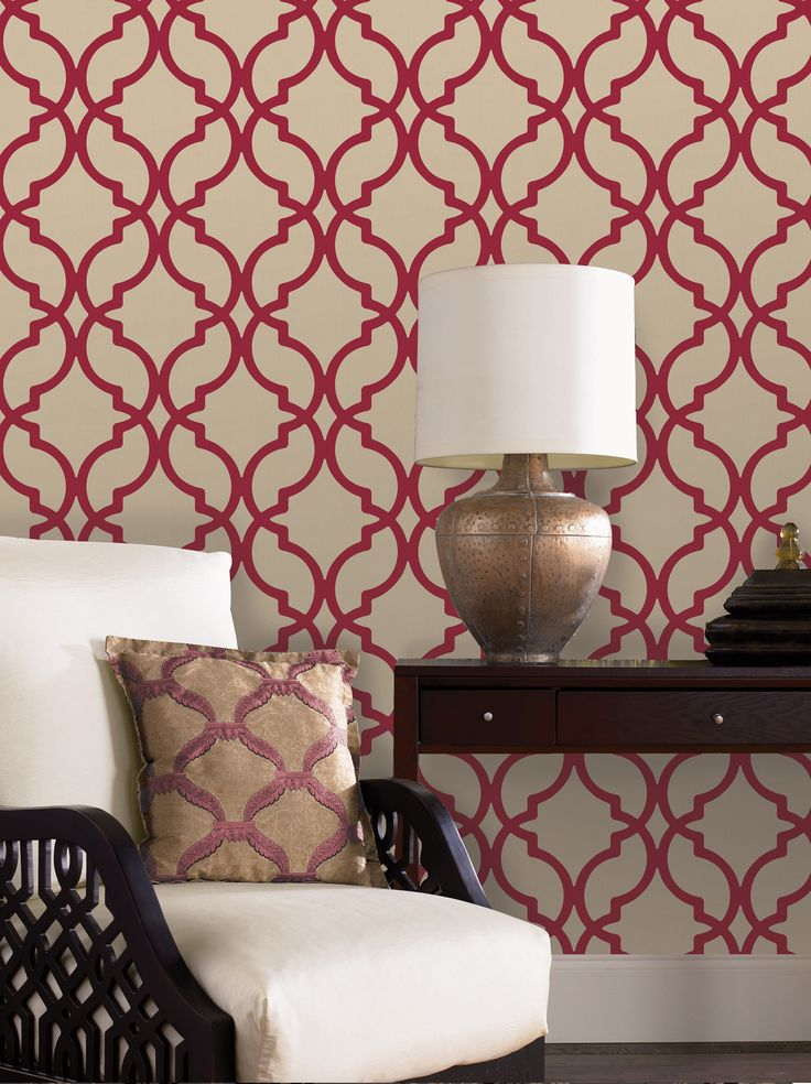 modern wallpaper feature wall red and white