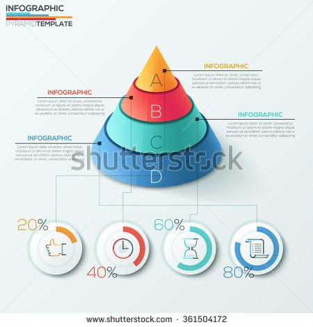 3d modern infographics options banner with cone pyramid divided into 4 parts and pie charts. Vector. Can be used for web design and workflow layout