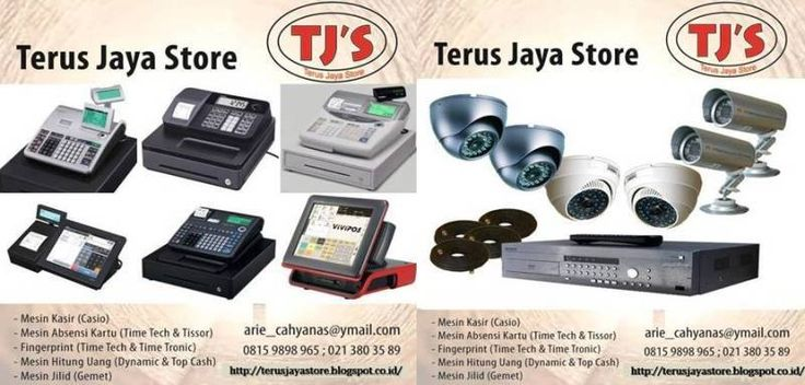 """TerusJayaStore serves order """"Electronic Office/Business Equipment"""" that could be reached via internet.  Our products are :  1.Cash Register (Casio)  2.Electric Time Recorder (TimeTech,Cooper)  3.Biometric Time Attendance (TimeTech,Secure,TimeTronic)  4.Electric Typewriter (Nakajima & Brother)  5.Binding Machine (Gemet,Offistar)  6.Money Counter Machine (Dynamic,Secure,TopCash)  7.Laminiting Machine (Offistar,Dynamic)  8.CCTV (Avtech)  Call : +68159898965 / arie_cahyanas@ymail.com"""