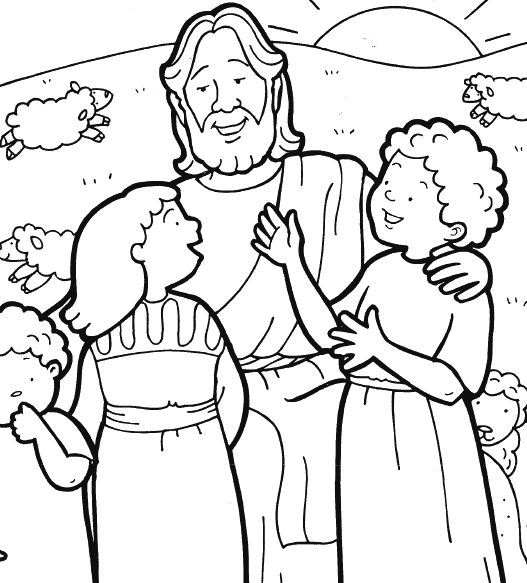 Jesus and Children coloring page Shutin cards Pinterest