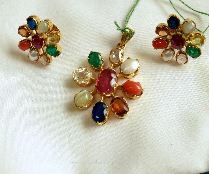 Gold Navaratna Pendant Sets, Gold Pendants for Chains, Gold Stone Pendants for Chains, Gold Gemstone Pendant for Chains.
