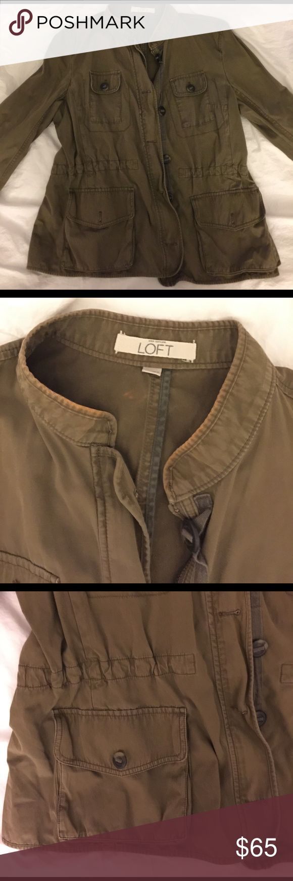 Ann Taylor Loft military jacket Army green military jacket with drawstring waist, size XL LOFT Jackets & Coats Utility Jackets