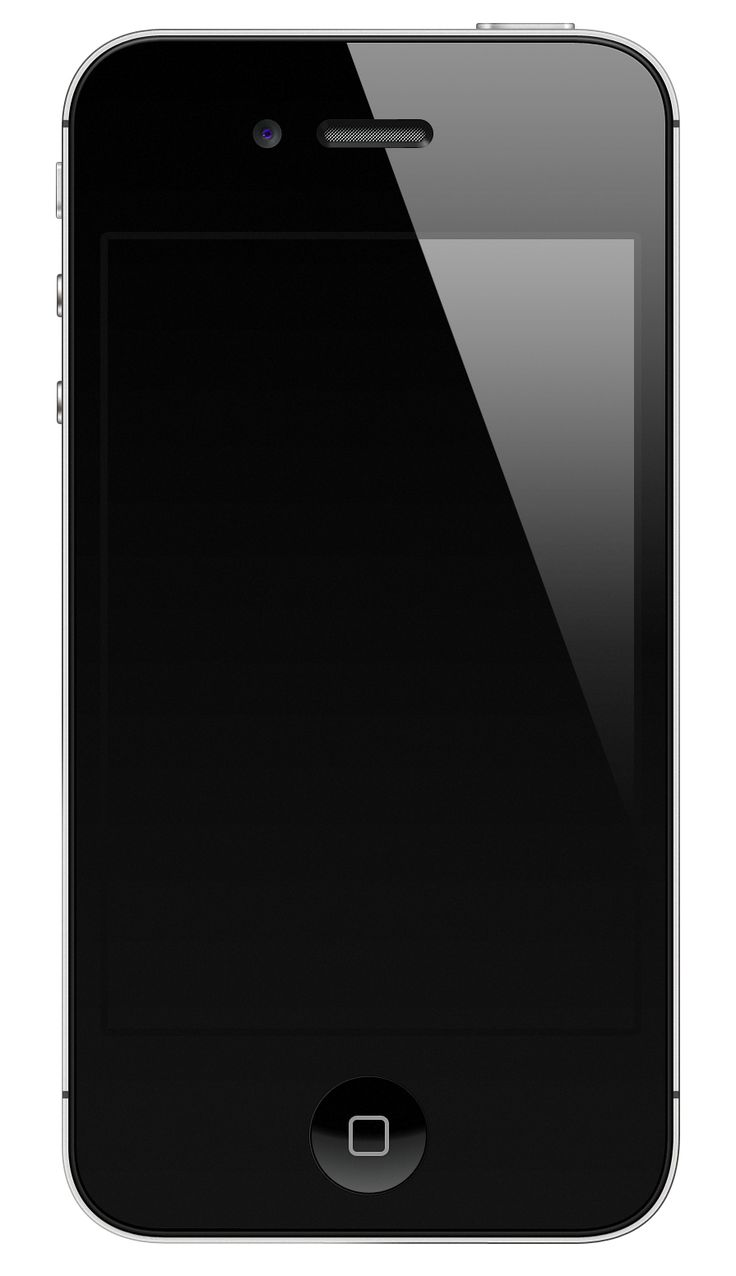 Black iPhone 4S blank screen with highlight