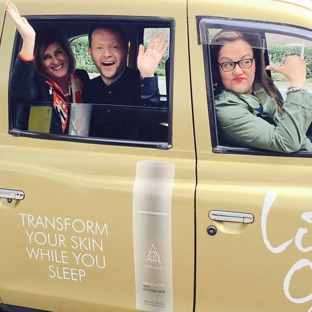 Michelle & Tom catching a ride with Caroline Hirons to QVC UK in the #LiquidGoldCab... Did you get your Liquid Gold Anniversary Collection? X
