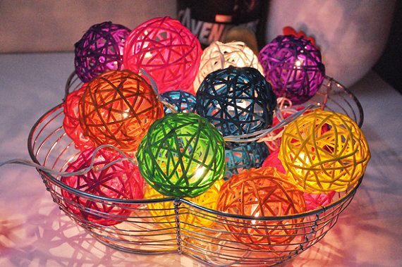 Colourful Rattan ball string lights for PatioWeddingParty by ginew, $15.50