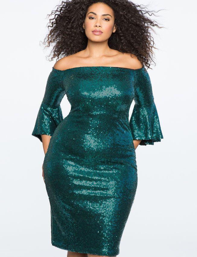 Sequin Off the Shoulder Flare Sleeve Dress | Women\'s Plus Size ...