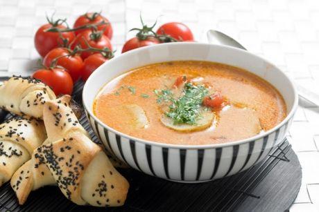 Tomat-jordskoksuppe med rejehorn