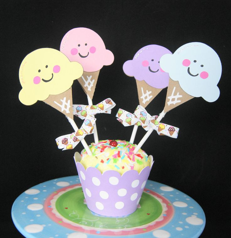 Ice Cream Shoppe, Ice Cream Cone Cupcake Toppers, Party Decorations, Girl Birthday Party -- set of 12