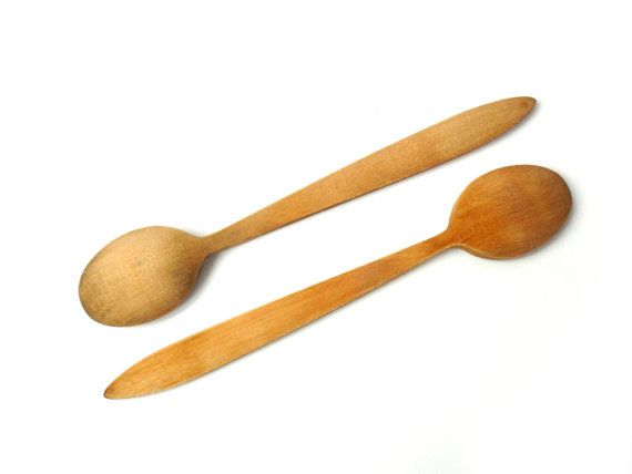 set of two #vintage wooden spoon, rustic spoon, rustic spoon, vintage spoon, wood harvesting wood decor the kitchen  The spoons painted primitive pattern of rhombuses in the... #etsy #soviet #nostalgishop #kitchendecor