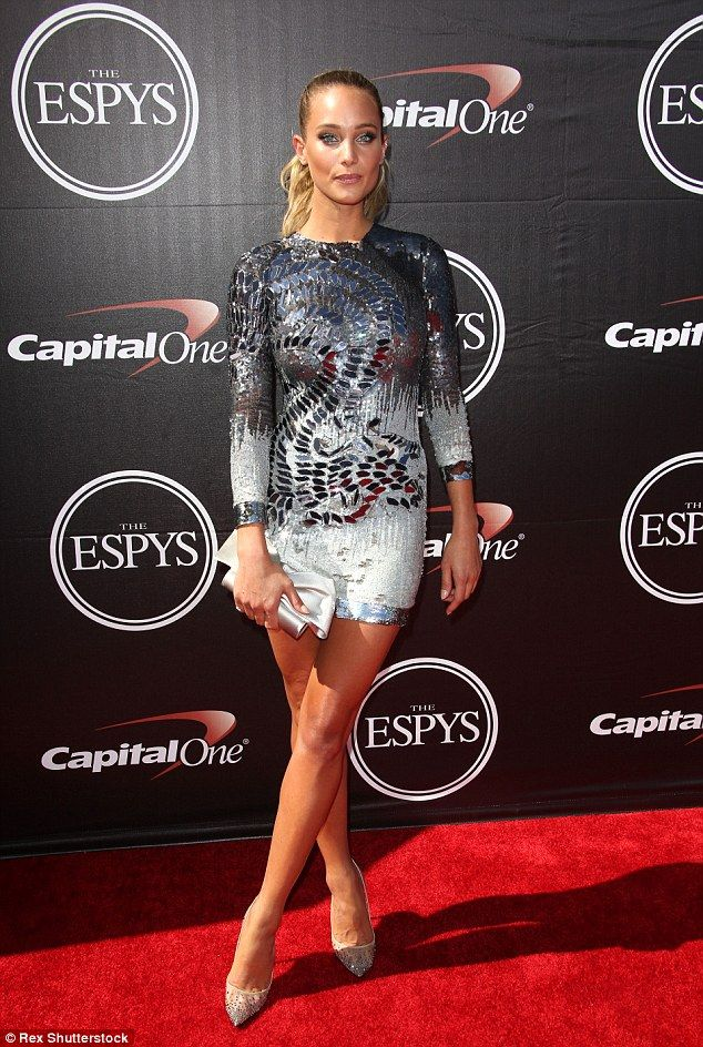So gorgeous: Hannah also lit up the ESPYs (pictured), glittering on the red carpet in an embellishedMikaelD mini and matching glitzy heels