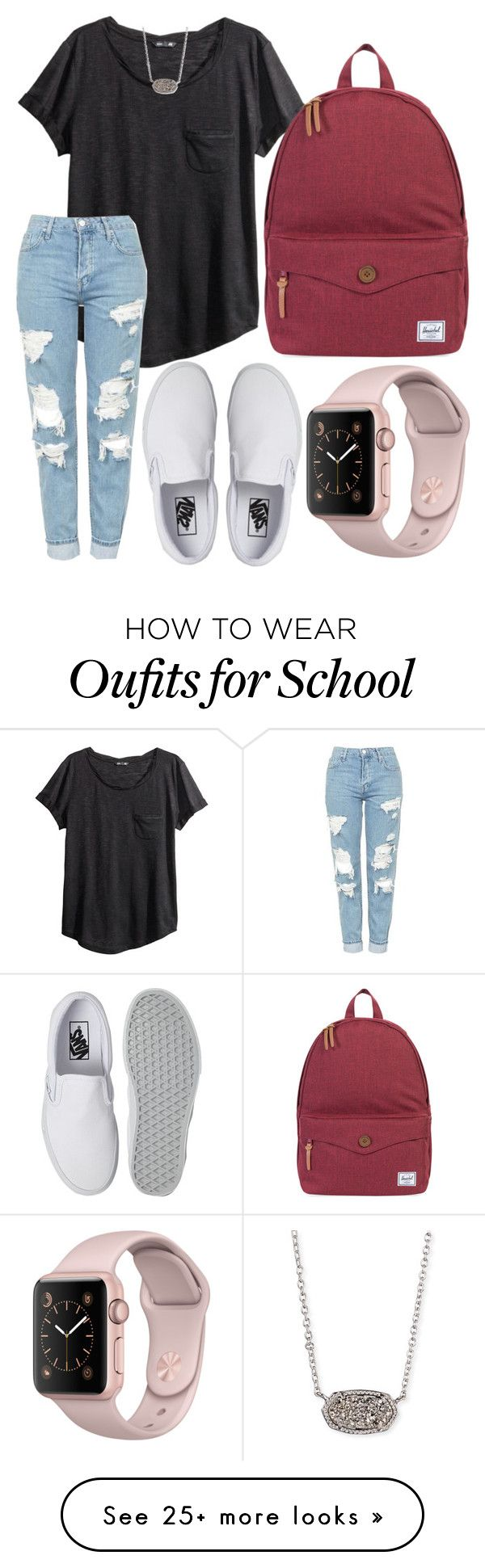 """""""School outfit"""" by jadenriley21 on Polyvore featuring H&M, Topshop, Vans, Kendra Scott and Herschel Supply Co."""