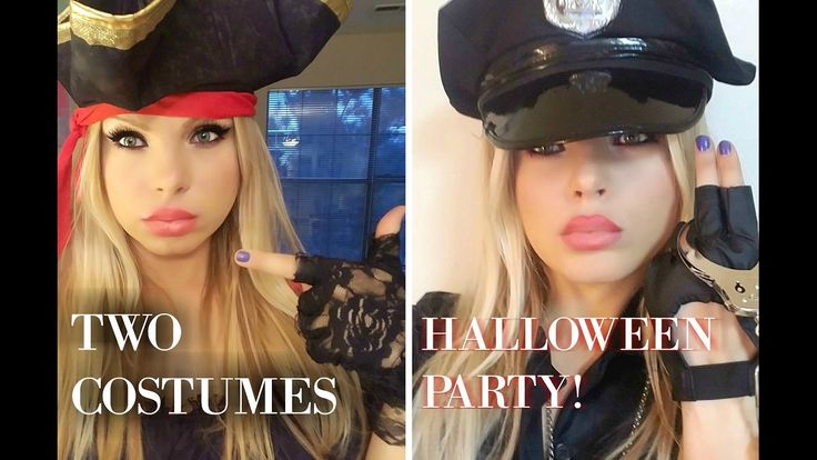 TWO COSTUMES HALLOWEEN PARTY ! police women costume pirate costume video