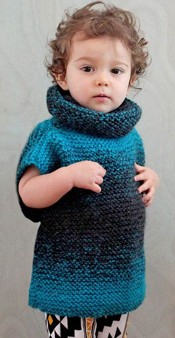 Free Knitting Pattern for Easy 3 Square Child's Sweater - Gina Michele's super easy pullover is constructed of three squares knit in garter stitch. Sizes 1-2 years, 3-4 years, 4-5 years
