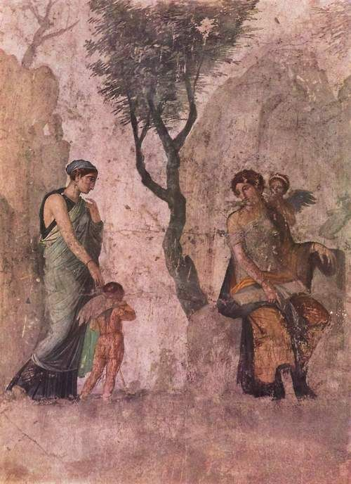 Ancient Roman wall fresco from Pompeii, Italy. Some of Pompeii is crumbling so I have read.