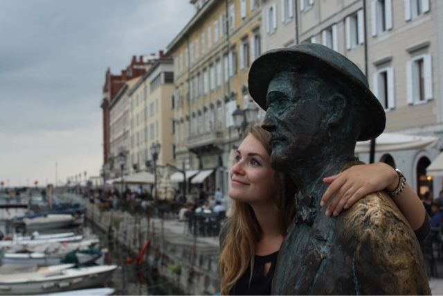 Hanging out with my new friend James Joyce in Trieste, Italy
