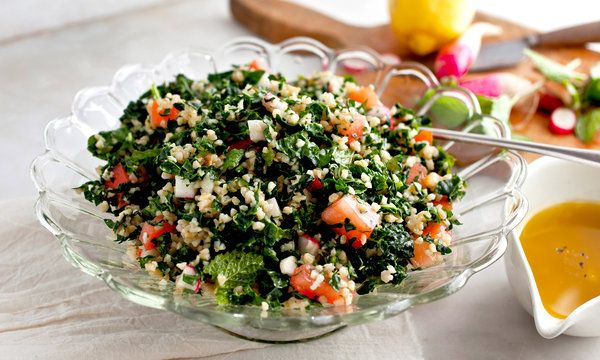 Kale Tabbouleh! Great way to make raw kale delicious. I make it even healthier by using quinoa in place of the wheat grain.