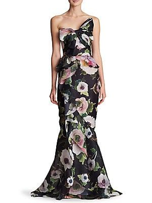 bc987671 Marchesa - Strapless Bow Floral Silk Gown   dresses   Damas