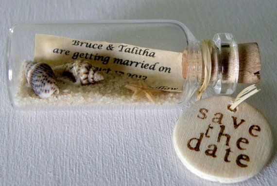 SAVE THE DATE Magnets mini message bottle sold in by WeddingsAway, $23.00