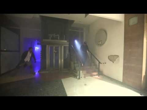 Battle zombies in an abandoned shopping mall in London.