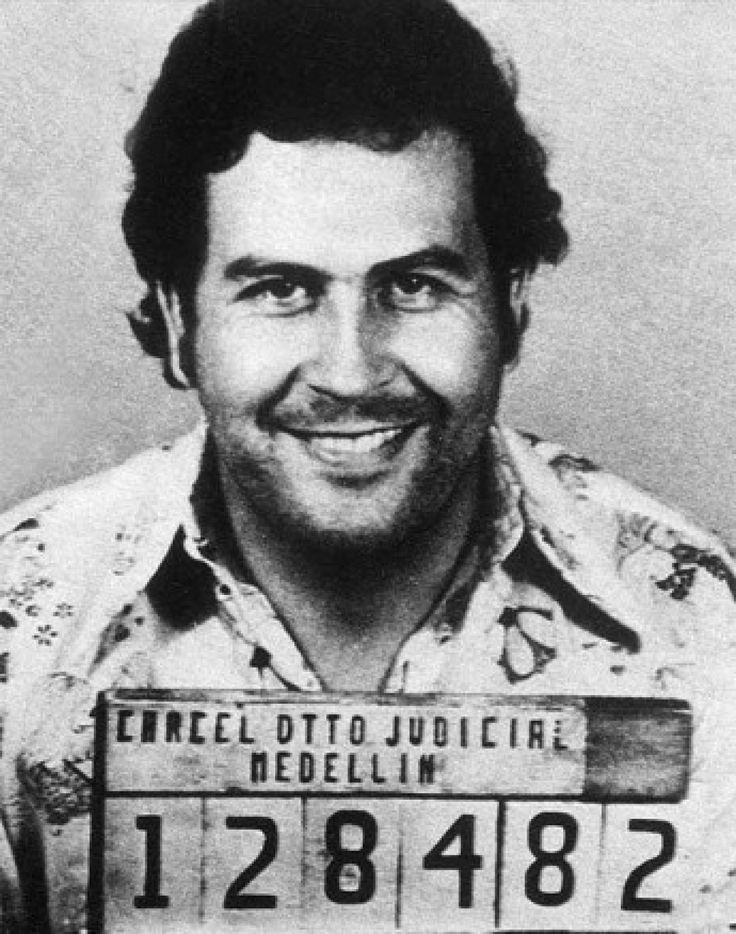 Pablo Escobar after his arrest for trafficking in 1976. He was let free after bribing his arresting officers