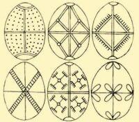 Hungarian Easter eggs created with a wax resist method. Ormánság region, Baranya County. 1950s