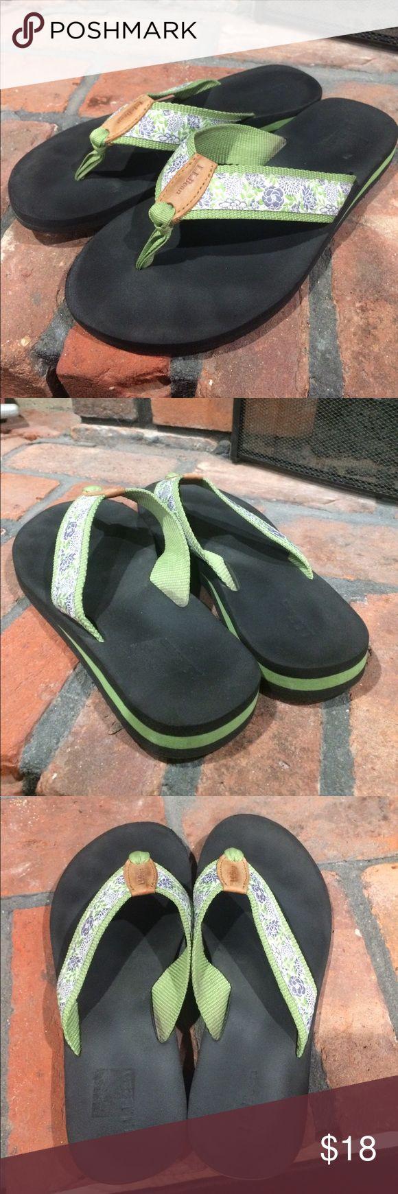 L.L.Bean women's flip flops size 8 L.L.Bean women's flip flops size 8.  Cute green and blue and white floral print flip flops.  Very good condition.  Light use. L.L. Bean Shoes Sandals