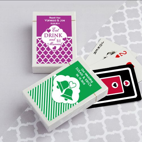 Simply Stylish Personalized Playing Cards (FashionCraft 6769ND)   Buy at Wedding Favors Unlimited (https://www.weddingfavorsunlimited.com/simply_stylish_personalized_playing_cards.html).
