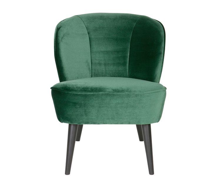 Woood Sara fauteuil fluweel flesgroen - Flesgroen
