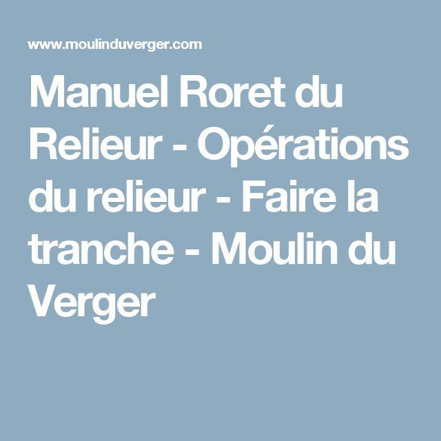 Manuel Roret du Relieur - Opérations du relieur - Faire la tranche - Moulin du Verger