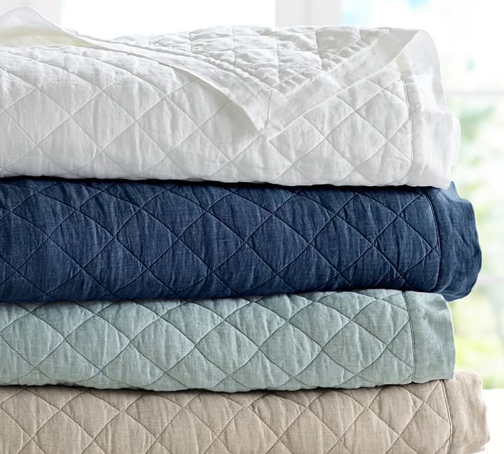 Belgian Flax Linen Diamond Quilt Amp Sham Top Pinned