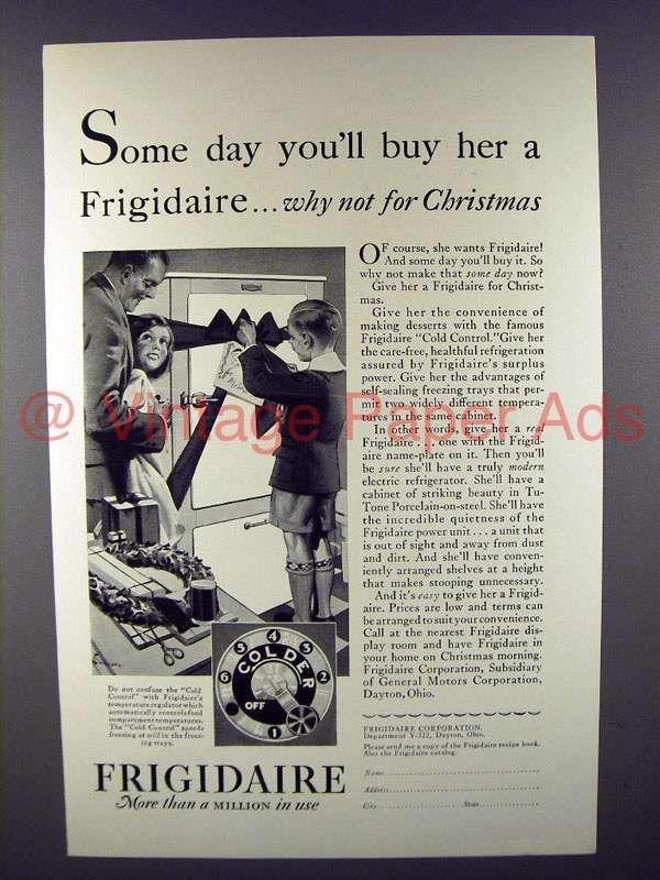 1929 Frigidaire Refrigerator Ad - Why Not for Christmas