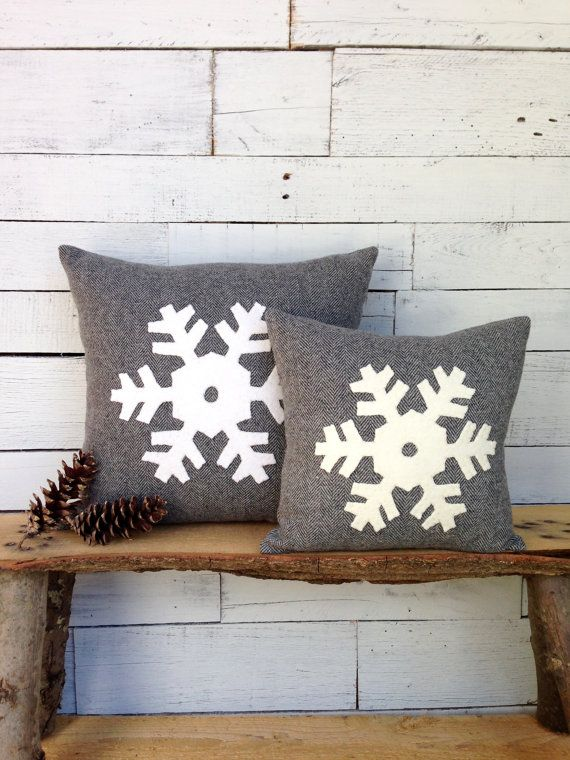Winter Decor Pillow, Snowflake Pillow, Rustic Throw Pillow, Christmas Pillow, Ski Lodge Decor, Gray Pillow, 12 inch or 16 inch square Pillow