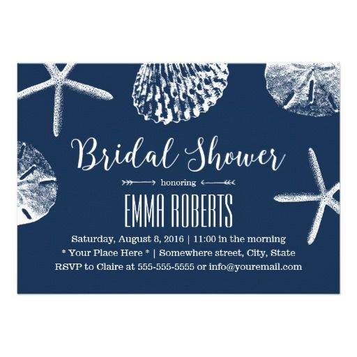 271 best beach bridal shower invitations images on pinterest beach wedding bridal shower navy blue seashells card filmwisefo Choice Image