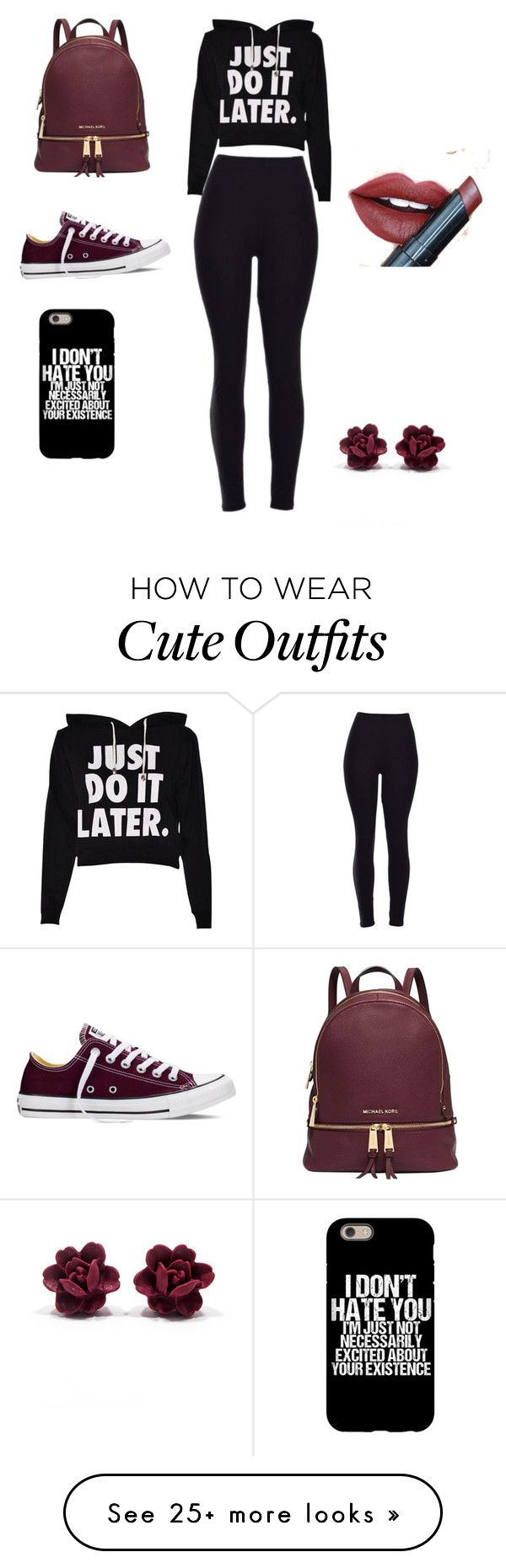 Cute high school outfit by caity0312 on Polyvore featuring Converse, Michael Kors, Fiebiger, womens clothing, women, female, woman, misses and juniors