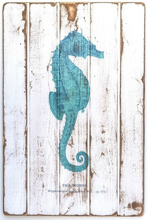 Sea Life Art on Wood: http://www.completely-coastal.com/2016/02/coastal-ocean-beach-paintings-on-wood.html Beautiful pieces for a rustic unique look.