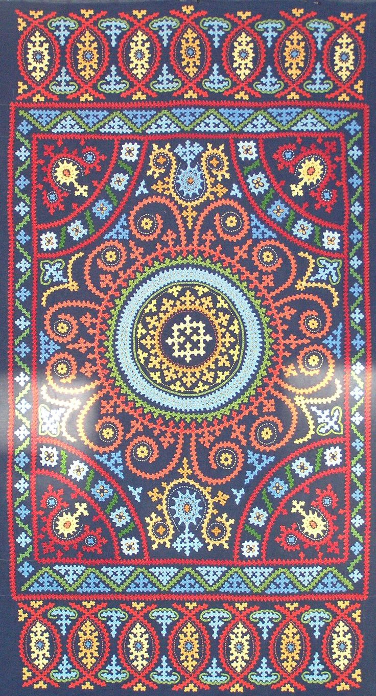 """Marash Embroidery by Maya Heath - 22.5"""" x 42 - Cotton floss on linen ground - completed 10-26-2014"""