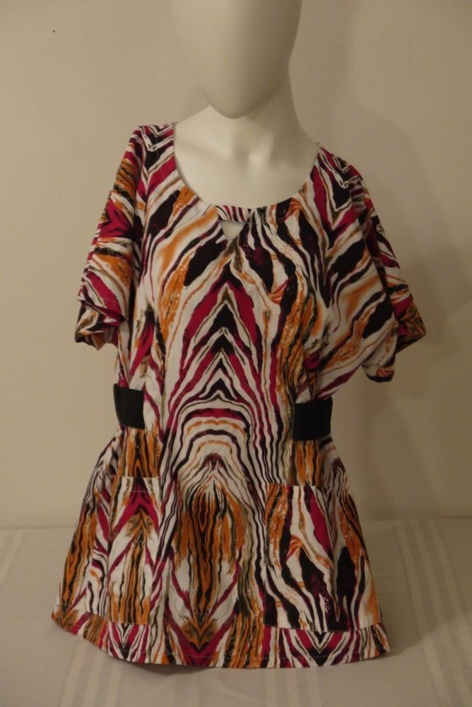 Expo Womens Scrub Top~Size L~Multi-Color~Animal Print~Short Sleeve~Boat-Neck #Expo