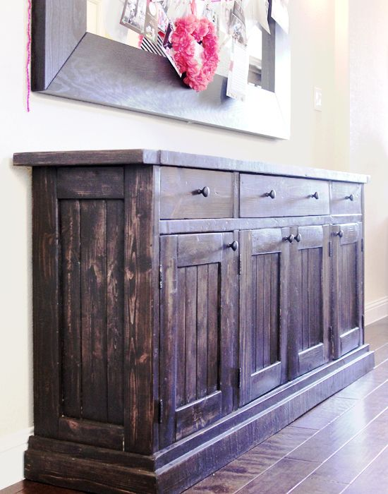 Note: Pinned this for Mirror. Big mirror from mantle over & put over buffet. Genius!  Rustic Sideboard / Buffet Table | Do It Yourself Home Projects from Ana White @Wesley Archambault Morris