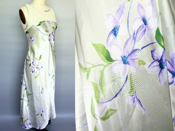 mother of pearl / 90s floral satin illusion neckline dress /